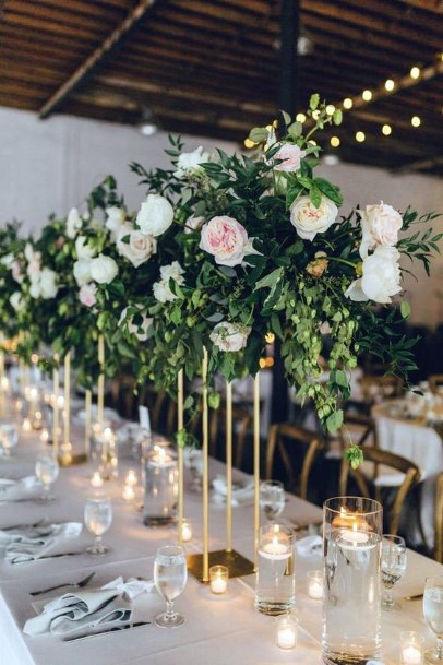 Green And Blush Wedding Flowers Table Decor