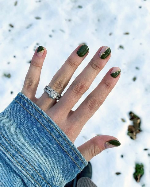 Green And Gold Nail Design Women