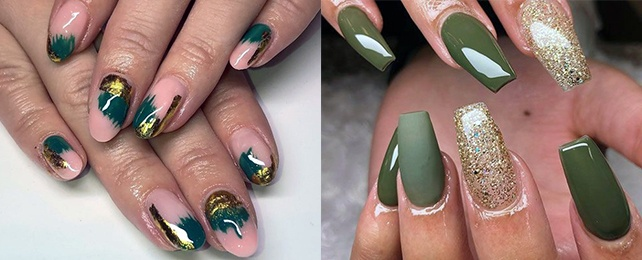 Top 50 Best Green And Gold Nail Designs For Women – Glamorous Manicures