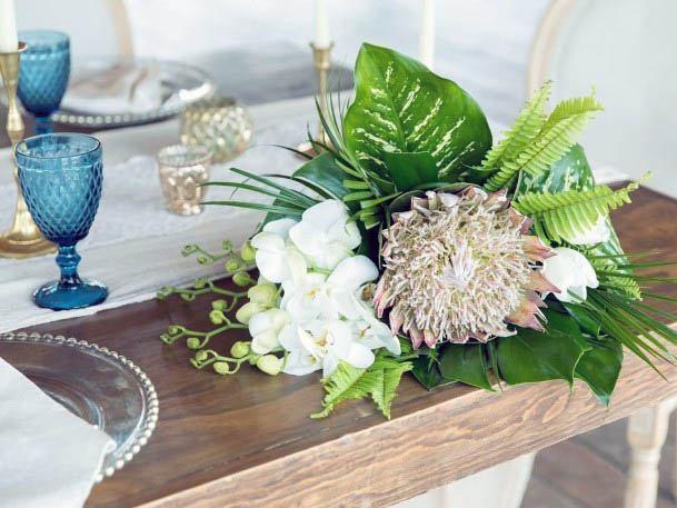 Green And Light Beach Wedding Flowers