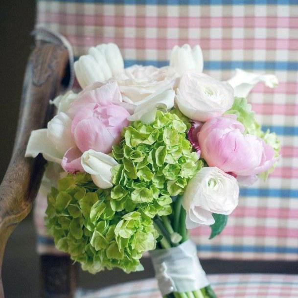 Green And Pink Hydrangea Flowers Wedding