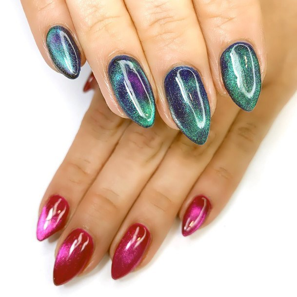 Green And Red Cat Eye Nails