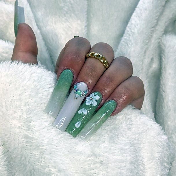 Green And White Nails With 3d Flowers Women