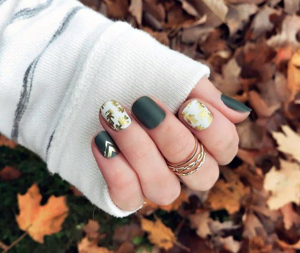 Green And White Nails With Golden Art Women