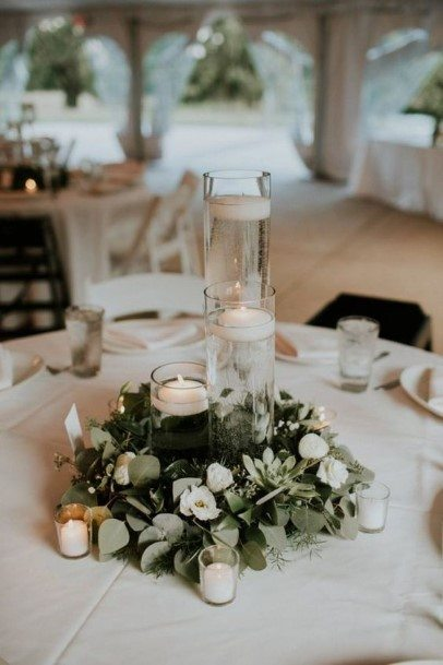 Green And White Wedding Centerpiece Ideas