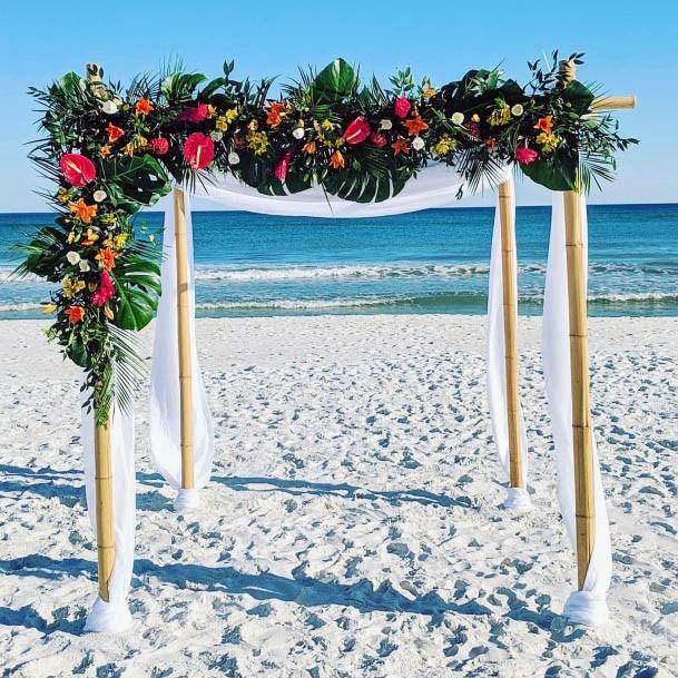 Green Arch Beach Wedding Flowers