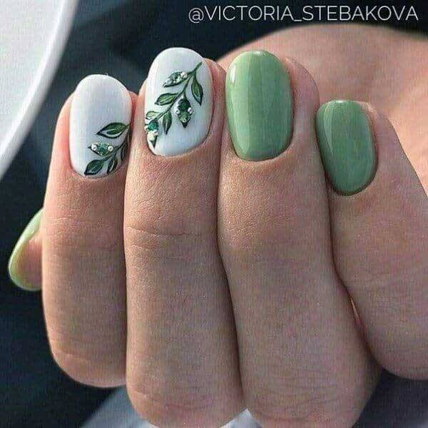 Green Colored Gel Painted Nails