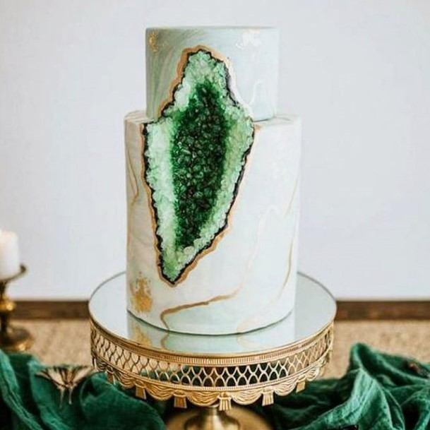 Green Crystal 2 Tier Wedding Cake