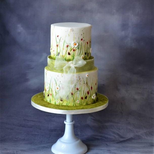 Green Gardens 2 Tier Wedding Cake