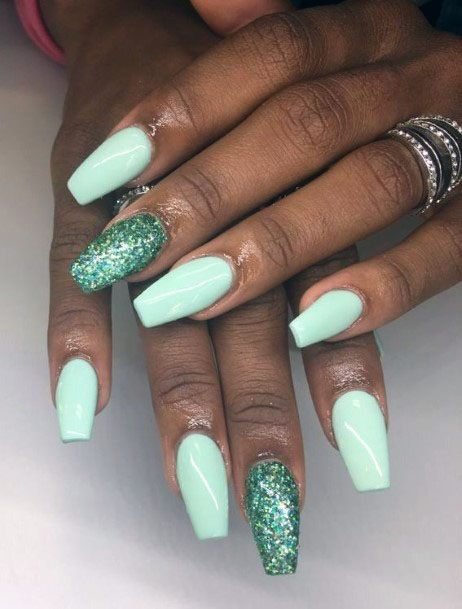 Green Glitter Accent And Mint Nails For Women