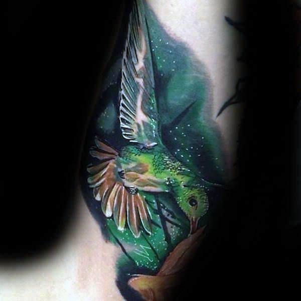 Green Hummingbird Tattoo For Women