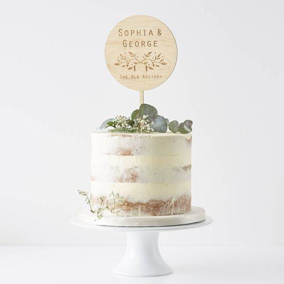 Green Leafy Rustic Wedding Cake Toppers