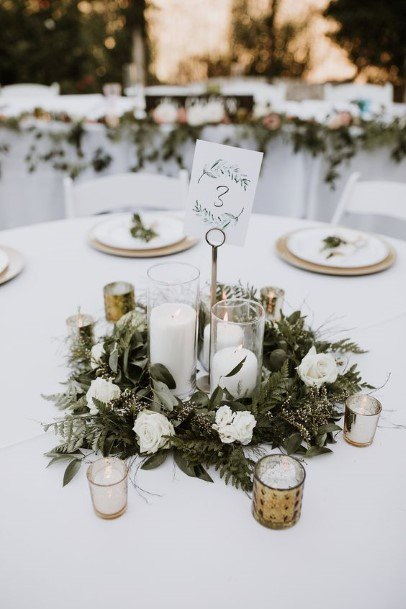 Green Leaves Wedding Centerpiece Ideas