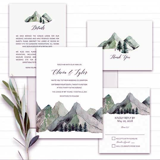 Green Mountain Design Invitation Suite Rustic Wedding Ideas