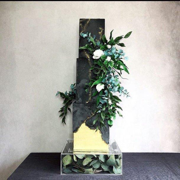 Green Plants Art Black Square Wedding Cake
