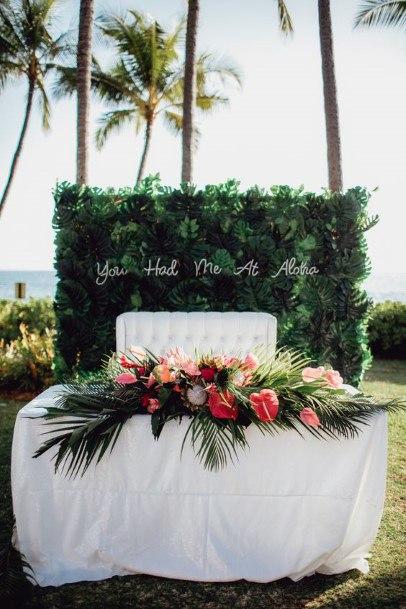 Green Welcome Board And Hawaiian Wedding Flowers