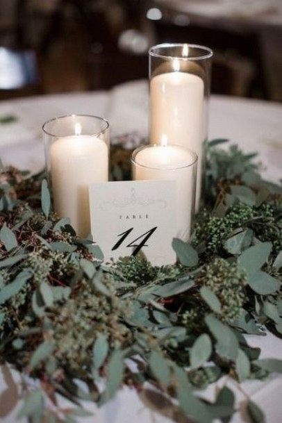 Greenery And Candles Simple Wedding Centerpiece Ideas