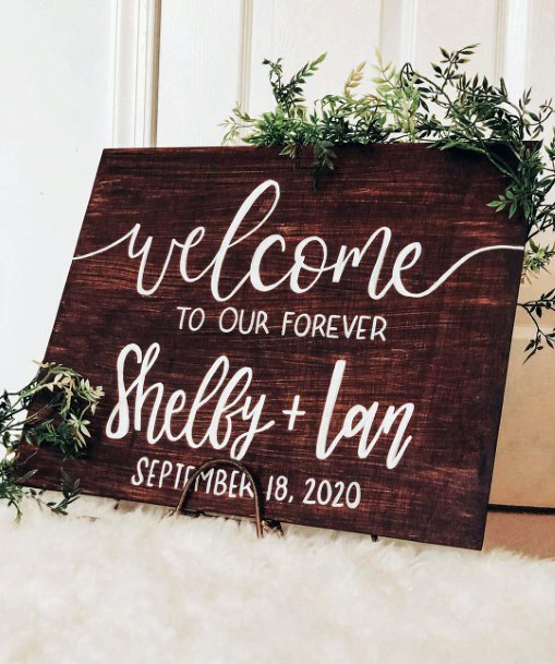 Greenery And Wood Welcome Sign Rustic Fall Wedding Ideas