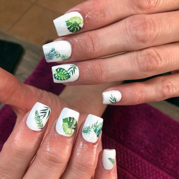 Greenery Tropical Nails Women