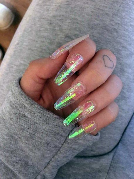 Greenish Iridescent Nails Women