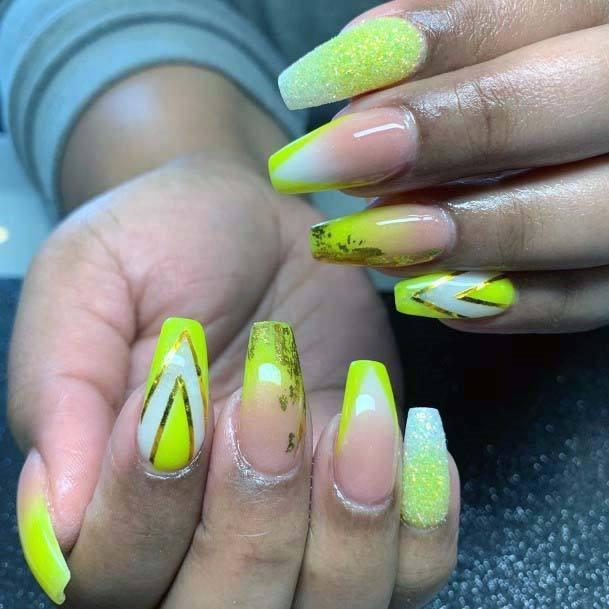 Greenish Yellow Bright Nails For Women