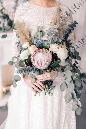 Greens And Blush Wedding Flowers