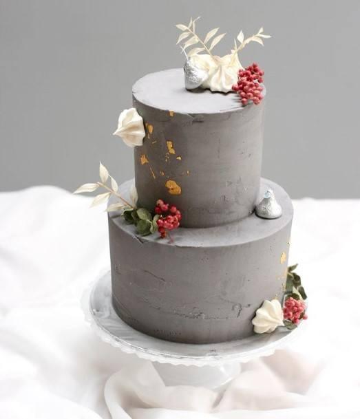 Grey 2 Tier Wedding Cake
