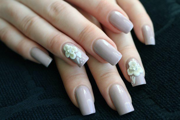 Grey 3d Flowers Nails For Women