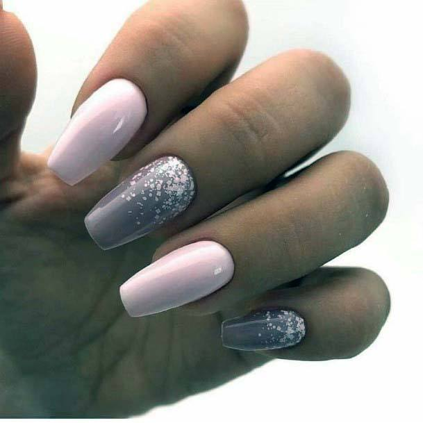 Grey Accent And Light Pink Nails