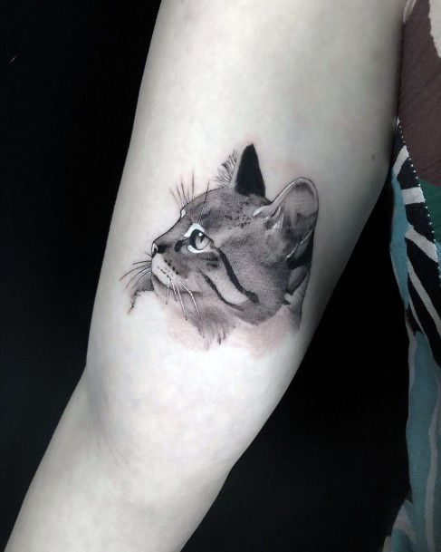 Grey And Black Toned Cat Tattoo For Women