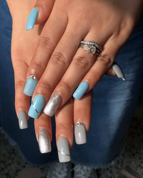 Grey And Blue With Silver Hued Nails