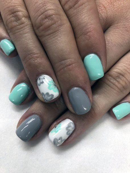 Grey And Mint Floral Art Women