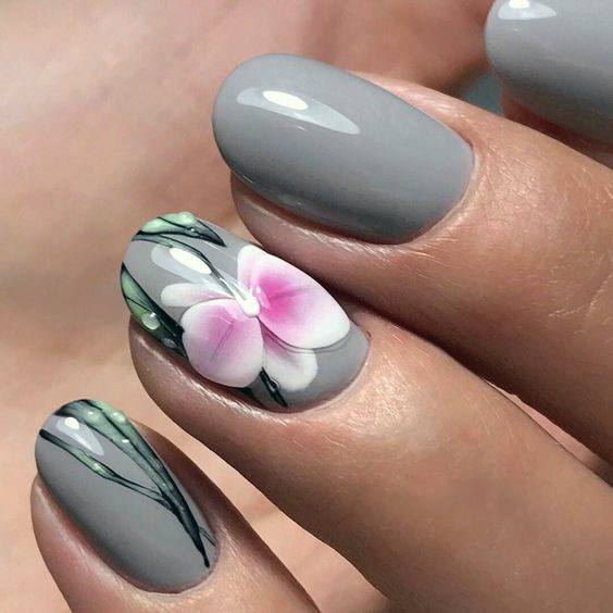 Grey And Pink Orchids Stunning Nails