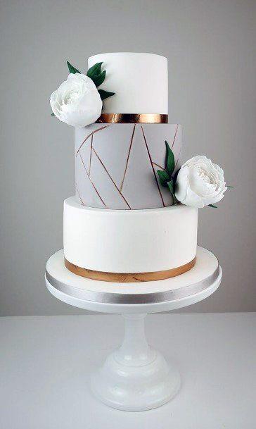 Grey And White Elegant Wedding Cakes Women