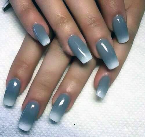 Grey And White Ombre Nails Women