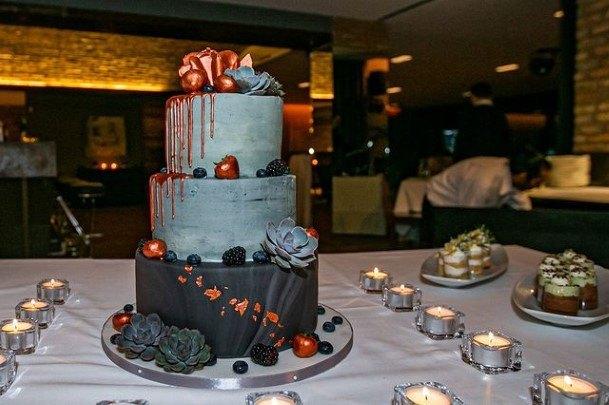 Grey Black Buttercream Wedding Cake