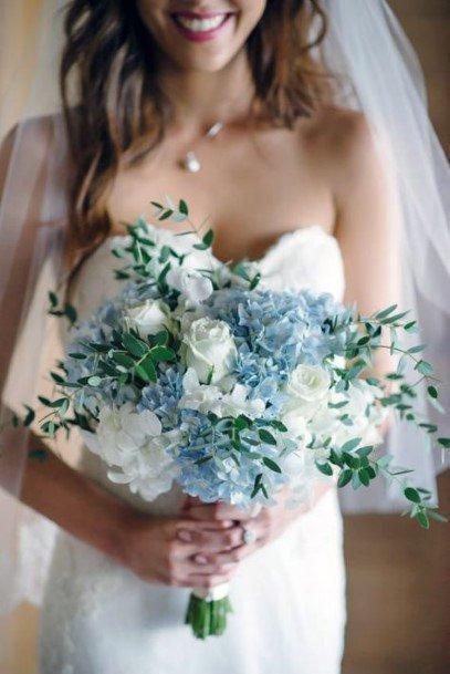 Grey Blue And White Hydrangea Wedding Flowers