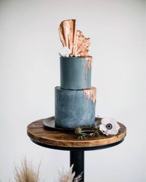 Grey Blue Wedding Cake With Rose Gold Toppers