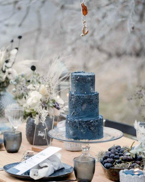 Grey Blue Wedding Cake