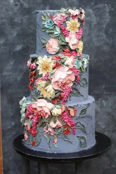 Grey Buttercream Wedding Cake With Flowers Garden