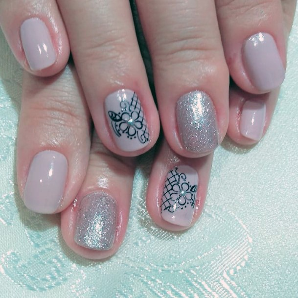 Grey Charming Floral Design With Stone On Nail Women
