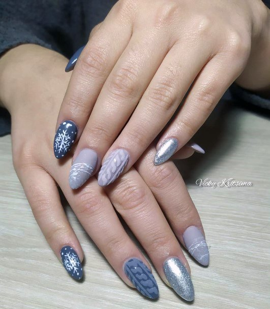 Grey Dull Snow Nails Women