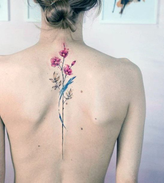 Grey Feather And Flower Tattoo Womens Spine Art