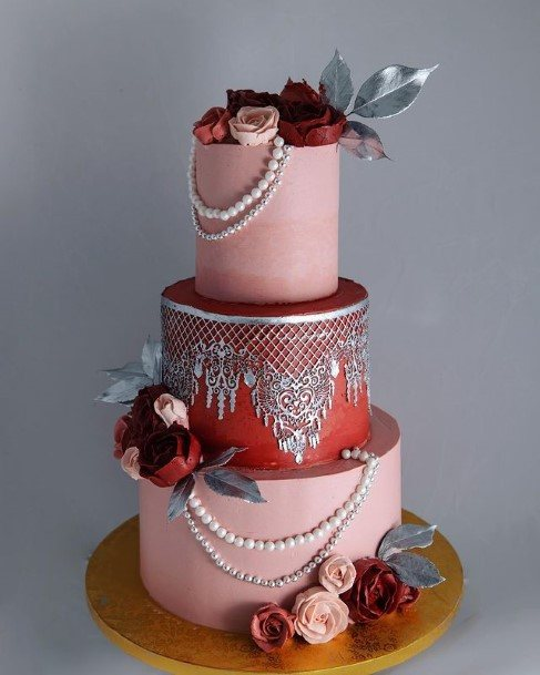 Grey Laced Cake Beautiful Wedding