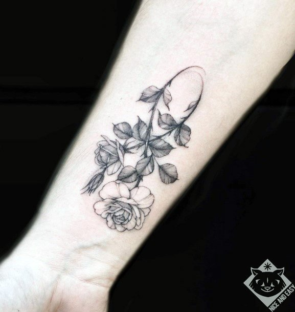 Grey Leaves And Flower Infinity Tattoo Womens Wrists