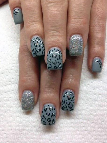 Grey Nails Women Leopard Print