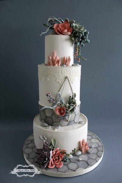 Grey Orange And Pink 3 Tier Wedding Cake