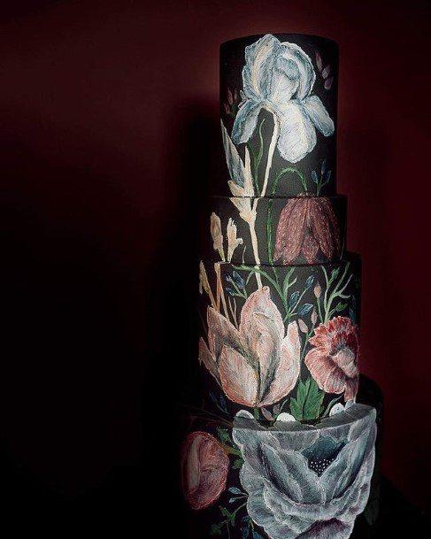 Grey Wallpaper Floral Art Beautiful Wedding Cakes