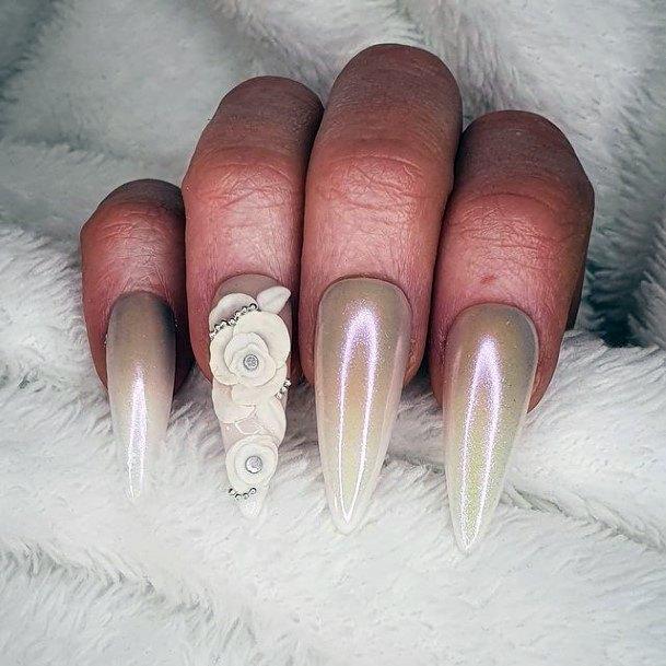 Grey White 3d Flowers Nails Women