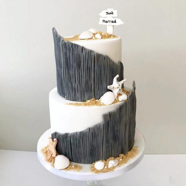 Grey White Beach Wedding Cake Women